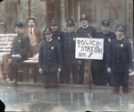Colorized copy of Huntington Police Dept. during 1913 Flood