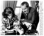 Pres. Richard Nixon, Luci Johnson Nugent, and Lyn Nugent, Mar 14, 1972