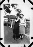 Helen Alexander and friend at Camden Park, June 25, 1922, b&w