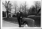 H. R. Alexander at entrance to Ritter Park, Huntington, W.Va., 1942
