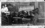 Sara Mae Myers and Irene Damron in Horse-drawn Cart by Marshall University