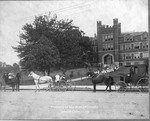 Wagons in Front of Old Main at Marshall College