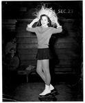 Ice skater Linda George, age 14, at Memorial Field House, Nov 14, 1954