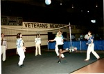Playing volleyball at Memorial Field House, 360 communications event