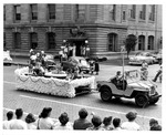 Young kids in swimming float, Huntington Parks & Rec parade, ca. 1951