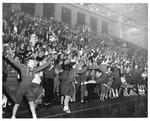 Huntington High School cheerleaders, Memorial Field House, ca.1950's