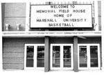 Front door view of Memorial Field House, Huntington,WVa, ca.1972 by Rick Haye