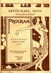 """Program for Keith-Albee Theater showing of """"His Private Life' starring Adolphe Menjou, Nov. 1928, col."""