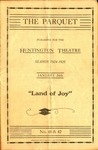 """""""The Parquet"""" program for Huntington Theatre for """"Land of Joy"""" play, 1924-1925, col."""