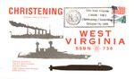 Commemorative envelope for the christening of the submarine West Virginia, SSBN 736, Ocrt. 14, 1989, col.