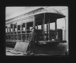 Putting vestibule on Car #55 Camden Interstate Railway, Huntington, W.Va.