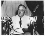 President Franklin Delano Roosevelt giving a fireside chat, June 24, 1938
