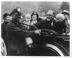 Franklin Delano Roosevelt shaking hands with miner Zeno Santenello, Elm Grove, WV, oct. 19, 1932