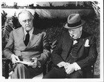 Franklin Delano Roosevelt and Churchill at the Casablanca conference, Jan. 24, 1942