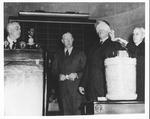 Franklin Delano Roosevelt & Sec. of War Henry L. Stimson at selective service drawing, Oct. 29, 1940