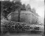 Railroad bridge abutments under construction ca. 1900