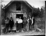 Railroad engineers in front of engineer's cabin ca. 1900