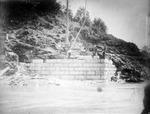 Railroad bridge abutment under construction, ca. 1900