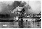 Steam towboat Iron Age, lowering its stacks, ca. 1909