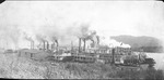 Steamboats docked on the Ohio River, ca. 1900