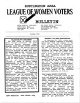 LWV Bulletin, October, 2001 by League of Women Voters of the Huntington Area