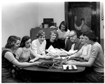 Mr. Verne and the yearbook staff, Huntington High School, ca. 1956