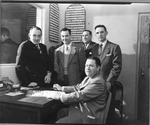Huntington High Phys Ed teachers, l to R: Stewart Way, Raymond McCoy far right, ca. 1956