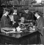 Mary Daniels with Huntington High School commencement speakers, ca.1956?