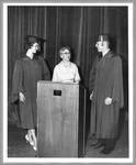 Presenting the new speaker's podium at Huntington High School, 1961