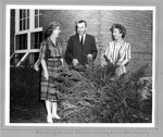 Huntington High Principal Mae Newman (l) & two deans survey new shrubbery,1962