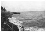 Torpedo being fired from USS Trathen, ca. 1955