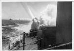 USS Trathen putting out smoke screen, 1955