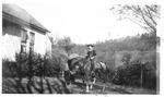 Mark Freeman on horse Blaze, ca. 1940's