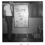 Mark Freeman with sign he made for WVa State Employment Service, July 1968