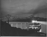 Night view of Huntington 6th St. Bridge & riverboat on Ohio River by Dana Forester