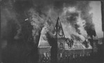 State capitol building on fire, Charleston, W.Va.