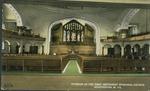 Interior of the First Methodist Episcopal church, Huntington, W. Va., ca. 1910.