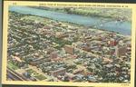 Aerial view of business section, Ohio river and bridge, Huntington, W. Va., ca. 1937.