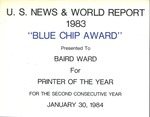 Sign for Blue Chip Award for printer of the year, for US news & World Report