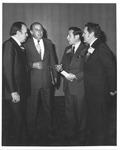 Marvin Stone receiving award, MU Pres. Robert Hayes on left