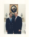 Pres. George H. W. Bush and unidentified at White House
