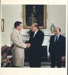 Pres. Ronald Reagan greeting Marvin Stone at White House