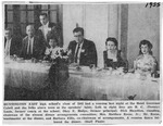 Newspaper article showing Huntington High School 10-year reunion, with Matthew Reese as emcee, 1955, b&w.
