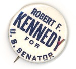 Campaign badge for Robert F. Kennedy for Senator, ca. 1865, col.