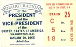 Admission card to the White House on Inauguration of Pres. Lyndon B. Johnson, Jan. 20, 1965, b&w.