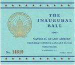Admission card to inaugural ball of Pres. Lyndon B. Johnson, Jan. 20, 1965, col.