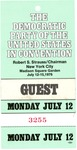Admission card to National Democratic Convention, New York, July 12, 1976, col.