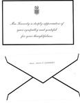 Sympathy appreciation card from Mrs. John F. Kennedy, Nov. 1963, col.