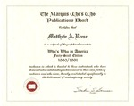 """Certificate stating Matthew Reese had a bio record entered in """"Who's Who in America,"""" 1990/1991 edition, col."""