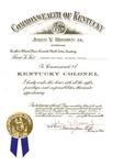 Matt Reese's commision as a Kentucky Colonel, signed by Gov. John Y. Brown, Nov. 12, 1983, col.
